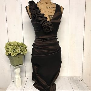 Cache Cache Womens Elegant Formal Brown Dress 6
